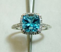 London Blue Topaz 14 k Halo Ring Ocean  Size 6.75  Swiss Blue FREE GlASS Ring BOX on Etsy, $449.00