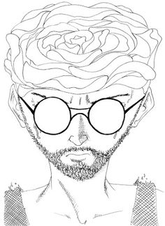 Gerald Ligonnet - Rosa, Black & white drawing  #art #drawing #illustration #blackandwhitedrawing #rose
