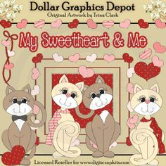 My Sweetheart 1 - Valentine's Day Clip Art Set, by Trina Clark - Great for printable crafts, scrapbooking, embroidery patterns, and more! www.DollarGraphicsDepot.com
