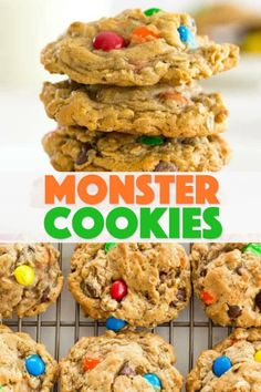 Monster Cookies: peanut butter and oatmeal cookies packed with chocolate chips and colorful M&M's. These cookies are fun to make with the kids! #monstercookies #m&ms #cookierecipes #bestdessertrecipes #chocolate #peanutbutter #peanutbuttercookies #oatmeal #oatmealcookies