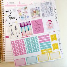 Paris Themed Sticker Kit for Erin Condren Vertical Life Planner  - Kit includes two sheets of stickers containing a total of 32 stickers to help