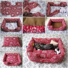 Want to treat your furry best friend to a new pet bed? Pet beds can be pricey at the pet stores. If you like to sew, this is a quick and easy pet bed. Dyi Cat Bed, Diy Pour Chien, Diy Pet, Pet Beds Diy, Animal Projects, Diy Pillows, Diy Stuffed Animals, Pet Clothes, Pets