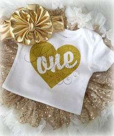 Gold Heart ONE Birthday Shirt - First Birthday - Glitter Onesie - Smashcake Shirt - Birthday Shirt - Girls Birthday Shirt - Birthday Girl by RufflesandBowtiesBowtique, $9.99 USD