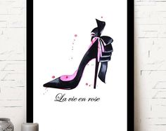 Louboutin/Paris, illustration fashion/home decor/pink/poster/ladies fashion. Paris Illustration, Illustration Fashion, Ladies Fashion, Christian Louboutin, Etsy Seller, Pumps, Trending Outfits, Unique Jewelry, Handmade Gifts