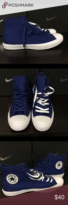 Men's Converse Chuck Taylor II High New (No box) Brand new with out box. Planned on wear them but never did. Comes with both Blue and white laces. You'll see I started to double lace the left shoe. Orders Will be shipped out in 1 day from purchase. If you have any questions or need additional pictures call or text 520-262-1875. I only sell via Poshmark and I don't trade as all these items are inventory from my eBay store. Thanks for looking! Converse Shoes Sneakers