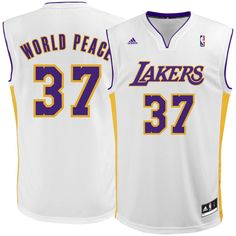 Metta World Peace Los Angeles Lakers adidas Replica Jersey - White 516bc5160