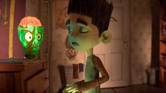 Norman is spooked by his zombie night light in ParaNorman