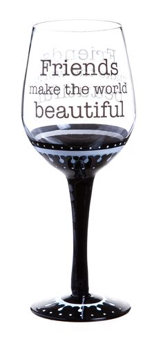 Features: -Quote color: Black ink. -Classic collection. Capacity: -12 Fluid Ounces. Product Type: -All purpose wine glass. Style: -Novelty. Color: -Black and clear. Number of Glasses In Set: -1