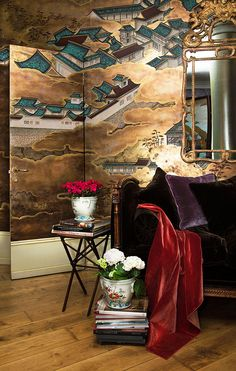 'Imperial Palace' design in Original design colours on Deep Rich Gold gilded paper. Chinoiserie Wallpaper, Chinoiserie Chic, Temporary Wall Covering, Cover Wallpaper, Hand Painted Wallpaper, Interior Decorating, Interior Design, Decorating Ideas, Designer Wallpaper