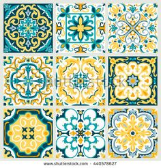 Set with Beautiful ornamental tile background. Vector illustration great for patterns, vintage design, and wallpaper. Islamic Patterns, Tile Patterns, Print Patterns, Home Confort, Turkish Pattern, Portuguese Tiles, Pattern And Decoration, Bathroom Art, Glazes For Pottery