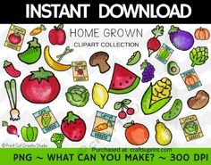 Home Grown Clipart Collection  Commercial Use by Christy Townzen These images are perfect for all your paper craft scrapbooking and planner sticker needs. Created at 300 dpi for excellent print quality each image comes in PNG format with a transparent background.To sell printable templates andor printed items at craft & vendor shows on personal websites andor multi-vendor websites sites such as