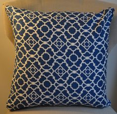 20 inch Blue and White Lattis Pillow Cover by MeganKayDesign, $15.00