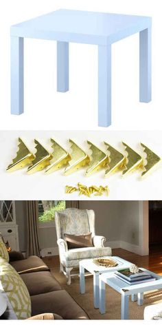 These brass corners ($5 for a set of eight from Amazon ) will jazz up a Lack table ($10).