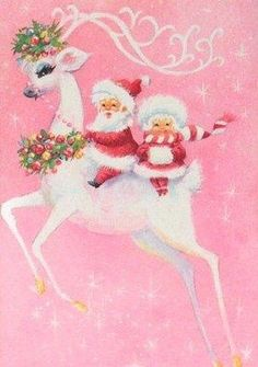 Vintage Santa and Mrs. Claus on a beautiful reindeer … love the pastel pink - Christmas Cards Noel Christmas, Retro Christmas, Christmas Greetings, Winter Christmas, Victorian Christmas, Christmas Decor, Christmas Ornaments, Xmas, Pink Christmas