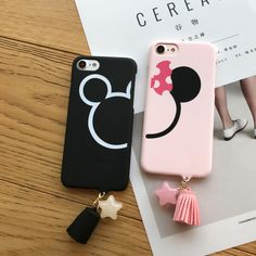 Cute Mickey Minnie Head Cartoon Couple Cases for iPhone 6s 7 7plus 6/6splus Star Tassel Coque