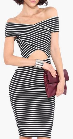 Cross Out Striped Dress