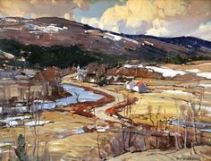 Aldro Thompson Hibbard (American, Spring Thaw/A Mountain Landscape Impressionist Landscape, Abstract Landscape, Landscape Paintings, Mountain Landscape, Winter Landscape, Classical Realism, Art Folder, Winter Painting, Spanish Painters