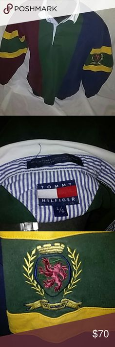 b88fb793 Vintage Tommy Hilfiger rugby shirt L Vintage Tommy Hilfiger rugby shirt in  great condition color faded due to age no rips no tears no stains Tommy  Hilfiger ...