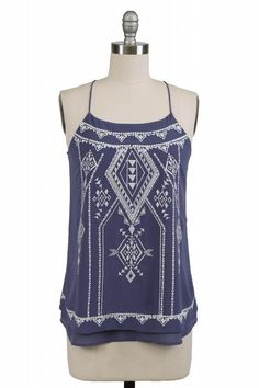 How adorable is this embroidered racer back tank? Perfect for those hot summer days! Only $32.00! www.rusticheartonline.com