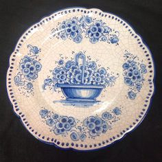Spanish Blue Decorative Plate From Ceramicas Sevilla 11.5 Inches Hand Painted