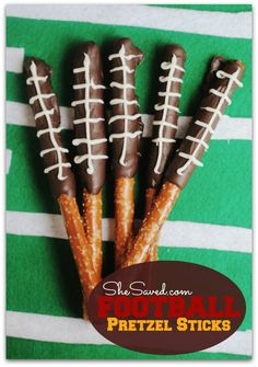 Perfect for game day! These Football Pretzels are super easy to make and so cute for a football party!