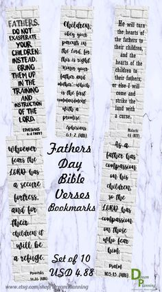 Fathers Day Bible Verses Bookmarks are perfect for bible study. Would be lovely to give out at church to all the Fathers. Great to add to a Fathers's Day gift! Also, they are perfect for bible journaling and scripture study. Fathers Day Bible Verse, Fathers Day Poems, Fathers Day Crafts, Fathers Gifts, Father's Day Scripture, Bible Verses, Diy Father's Day Gifts, Father's Day Diy, Father's Day Celebration