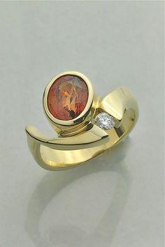Orange sapphire and diamond ring by Glenn Dizon Designs