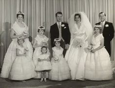Wedding portrait of Lady Pamela Mountbatten and groom David Nightingale Hicks on their wedding day, 13 January 1960.  Standing to Pamela's left, acting as one of her bridesmaids, is her 1st cousin once removed, Princess Anne.