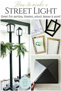 Realistic DIY Street Light Tutorial for Parties Christmas Lamp Post, Outdoor Christmas, Christmas Carol, Christmas Time, Christmas Crafts, Christmas Decorations, Xmas, Pvc Pipe Crafts, Pvc Pipe Projects