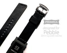 22mm Leather Strap for Pebble / LG G Watch / moto 360 - Olive Black