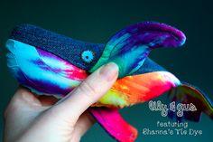 lily & gus/Shanna's Tie Dye whale (tiny with tie dye tummy & personalization) -