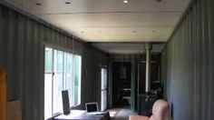 Shipping Container House - Ceiling construction, via YouTube.