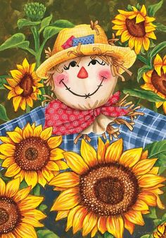 Fall Scarecrow and Sunflowers Thanksgiving Diamond Painting Kit. Round drills Full Drills Fast S&H by OurCraftAddictions Scarecrow Painting, Autumn Painting, Autumn Art, Tole Painting, Fall Garden Flag, Autumn Garden, Garden Flags, Fall Pictures, Pictures To Paint