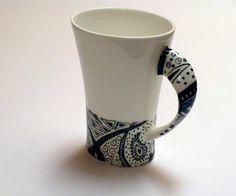 Handpainted mugs, black and white zentangle doodle bone china coffee mug