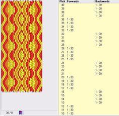 30 cards, 3 colors, repeats every 8 rows, 4F/4B, Ljudmila Ostroumova design, GTT