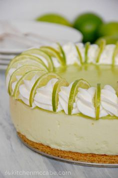 Key Lime Mousse Pie ~ Buttery crisp shortbread crust topped with a tower of fluffy, light, tart mousse, with a layer of tangy key lime mousse on top of that Key Lime Curd Recipes, Key Lime Desserts, Just Desserts, French Desserts, Plated Desserts, Yummy Recipes, Sweet Recipes, Dessert Recipes, Key Lime Mousse