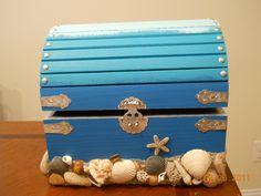 Beach Sand and Sea Shell Wedding Booty Box by ShellaciousGifts. $75.00, via Etsy.   CARD BOX?