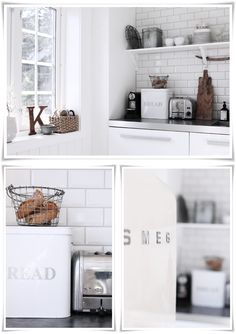 I've always wanted a subway tile backsplash. And I would love a shelf--or really just ample storage of any sort!