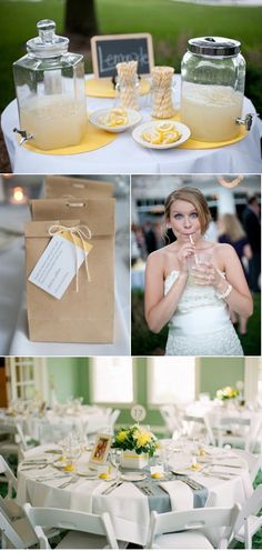 Lemonade Bar. Menasha Wedding by Emily Steffen Photography | Style Me Pretty