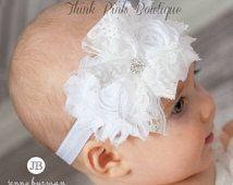 blanca venda del beb bautizo cinta de cabeza bautismo cinta de cabeza venda