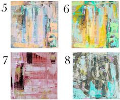 Lindsay Cowles Artwork ... Prints on Canvas: 5. Untitled 924- peach lavender mint grey | 6. Untitled 924- yellow sea green aqua purple | 7. Untitled 928- pink coral taupe | 8. Untitled 102- turquoise chartreuse pink grey