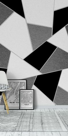 New Geometric Wallpaper Bedroom Grey Triangle Wall Ideas