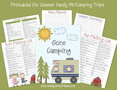 From packing list to meal planner, free camping printables to organize your trip.