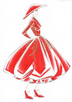Fashion sketch by Dior line Mary Poppins inspired
