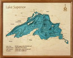 Our lake maps recreate the shoreline and bottom contours of your lake in precise detail. and Canadian lakes are available. This is a beautiful gift or a keepsake for your lake house. Lake Superior Map, Superior Tattoo, Topography Map, Lake Art, 3d Laser, 3d Wall Art, Custom Wood, Three Dimensional, Special Gifts