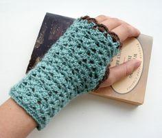 Fingerless gloves wrist warmers crochet pattern PDF by EadenYarns, $3.99