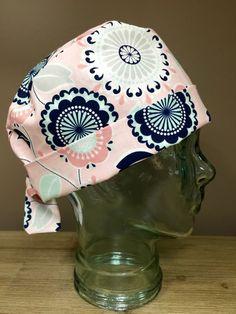 Custom Caps Company Navy, Mint & Pink Flower Scrub Cap, Beautiful Women's Surgical Scrub Cap, Pixie Tie Back Scrub Cap by CustomCapsCompany on Etsy