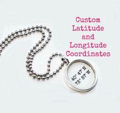 Latitude Longitude Map Coordinates Charm Necklace by PAPERandPLACE, $35.00