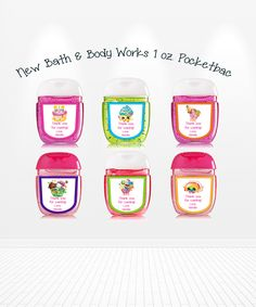 Cute Shopkins Bath & Body Works Pocketbac Hand Sanitizer Birthday Labels Party Favors - partyexpressinvitations