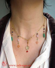 collana girocollo con pietre colorate /necklaces with colored stones -  Romantic Style - JU Jewels RIF 18